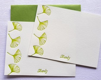 Ginkgo Personalized Letterpress Stationery Note Cards Golden Green