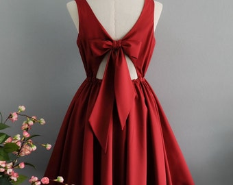 Red bridesmaid dress red prom dress red party dress bow back dress short party dress cheap prom dress wedding guest dress red dress