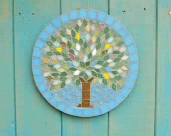 Spring Jewel Tree Mosaic Garden Yard Hanging Plaque Ornament Decoration