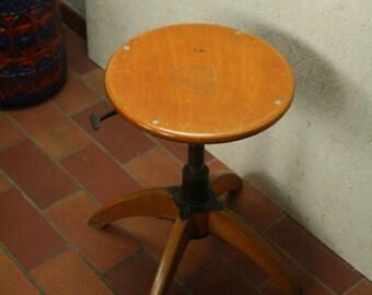 Industrial design wood and metal adjustable stool