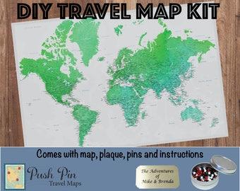 "DIY Enchanting Emerald Watercolor World Push Pin Travel Map Kit with 100 Pins - 24"" x 36"" - Unique anniversary gift! - Push Pin Travel Map"
