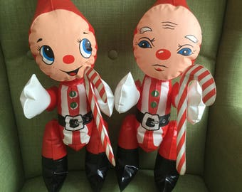 70s Blow Up Christmas Elves, Plastic Inflatable Squeekie Toys, made in Taiwan