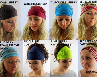 Yoga Headband Cotton Jersey Head Wrap Choose Any 3 Stretch Wide Headband or Twist Turban Headband Running Headband - Jersey Collection