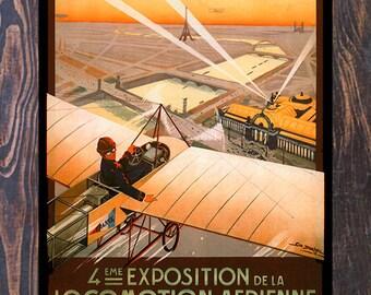 Exposition 4 EME Locomotion Aerienne, Air Show Ad Giclee Art Print, fine Art Reproduction