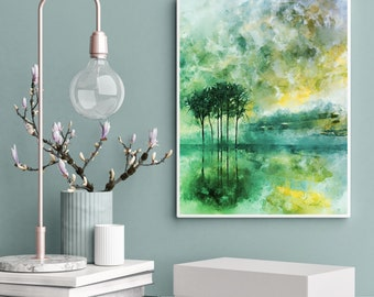 Abstract Trees Reflected on Water, Cold Shades, Mint Green, Lemon Yellow and Sapphire Blue, Printable, Home Decor Wall Art