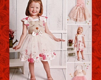 Simplicity Sewing Pattern 8616 Dress, Panties, Tutu Apron, Bunny Rabbit Accents, Girl's Sizes 1/2 1 2 3 4, Spring Summer Party Frock, UNCUT
