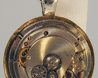 Steampunk Vintage Watch Movement Pendant with Chain OOAK #3