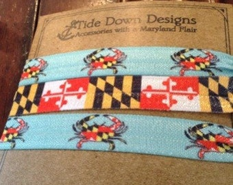 Maryland Flag & Crab  Elastic Hair Ties! 3 pk Choose your favorite set!
