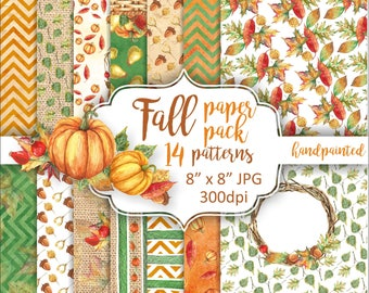 Fall paper pack. Autumn digital paper hand painted. Fall leaves pumpkin watercolor background. Seasonal pattern orange green.