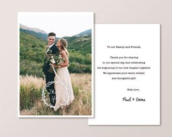 Wedding Thank You Card - wreath rustic (Printable)
