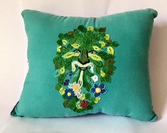 Hand made Green Man embroidered decorative pillow