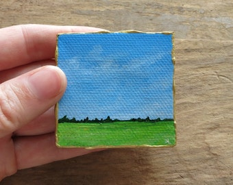 Miniature Prairie Landscape Painting, original small acrylic landscape art with blue sky & green field, tiny 2x2 inches