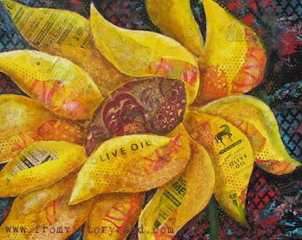 "ORIGINAL mixed media sunflower art ""Windswept"""