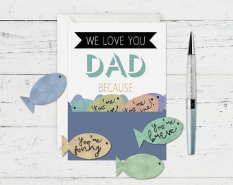 DIY Father's Day Card - Printable Father's Day Card - Handmade From Kids - Fishing Father's Day Gift - Gift From Children To Dad