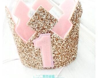 Custom Glittery Pink and Gold Birthday Crown | Gold and Pink Crown | 1st Birthday Crown | Baby Girl | Birthday | Cake Smash