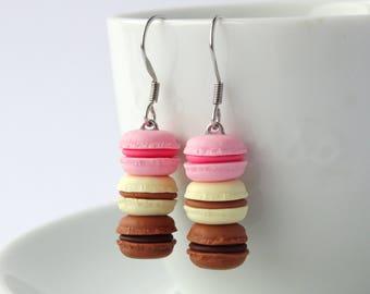 Cute stacked pastel pink vanilla chocolate macaron dangle earrings kawaii miniature food charms macarons accessory cute colourful earrings