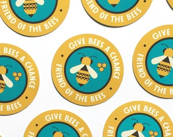"""Give Bees a Chance 2"""" vinyl decal, friend of the bees sticker, laptop stickers, cute sticker, bottle sticker, phone sticker, bumper sticker"""
