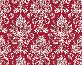 Postcards for Santa fabric, Riley Blake Designs, Damask in Red (C4752-Red) -- BY THE YARD