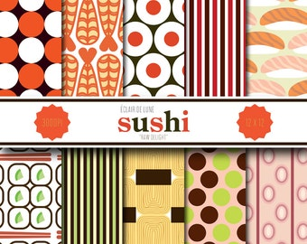 Sushi Digital Scrapbook Paper Polka Dots