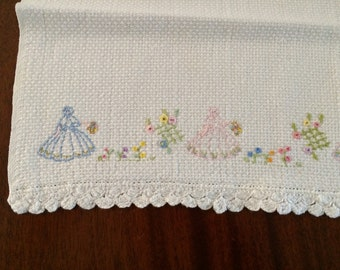 Crinoline Lady - Hand Embroidered Hand Towel