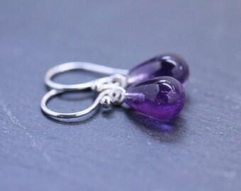 Amethyst Earrings Teardrop Earrings Mini Drop Earrings Purple Earrings Dangle Earrings Gemstone Earrings Gift For Her Under 50 Jewelry Gift