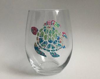 Sea Turtle Stemless Wine Glass - 15oz Stemless Wine Glass -  Sea Life Wine Glass