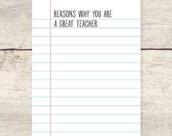 Fill-in-the-blank Teacher Appreciation Greeting Card