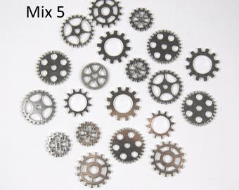 Multi Pack of Cogs Gears Steampunk Charms for Pendants - Antique Silver, Golden and Red Copper