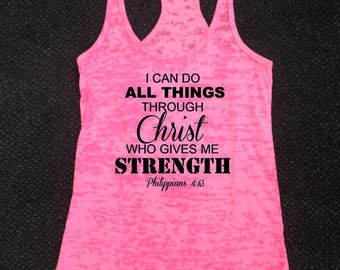Philippians 4:13 I Can Do All Things Through Christ Who Gives Me Strength Workout Racerback Tank Top