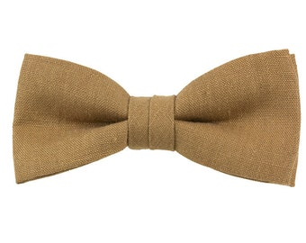 Tan Clip-on Bow Tie from Vintage Linen Fabric Handmade Bowtie