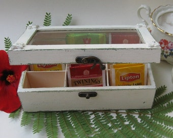 Cream Tea Bag box Shabby Chic Home Decor / Tea bag box, wooden tea box, rustic tea cabinet