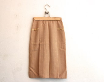 Vintage High waisted Pleated Skirt with embroidery