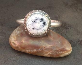 ON SALE 25% OFF Dendrite Opal Cabochon 14kt Gold Sterling Silver Metalwork Bracelet