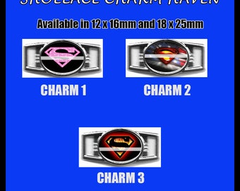 SUPERMAN Shoelace Charm  Paracord Bracelet Charm Oval Charm 12 x 16mm or 18 x 25mm Charms