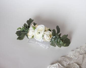 Ivory Eucalyptus Trio Comb. Silk Flower Comb. Wedding Hair Clip.