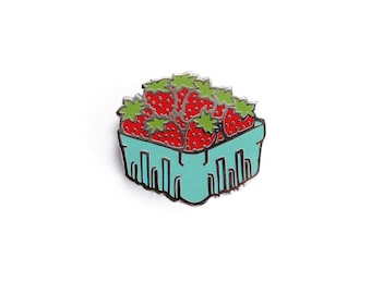 Strawberry Basket Enamel Pin - Fruit Lapel Pin // Hard Enamel Pin, Cloisonné, Pin Badge