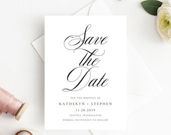 Save The Date Card Templates, Wedding Save The Dates, Printable Wedding Save The Date Templates, Classic Elegant Save The Date Invitations