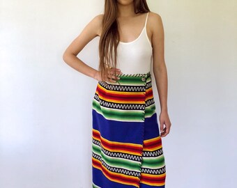 Serape Wrap Skirt // vintage southwestern dress high waist boho ethnic country hippie festival southwest sun maxi hippy Mexican // S Small