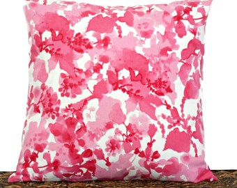 Pink Floral Pillow Cover Cushion White Hot Pink Fuchsia Watercolor Mothers Day Repurposed Decorative 16x16