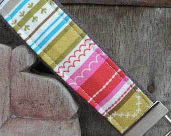 READY TO SHIP-Beautiful Key Fob/Keychain/Wristlet-Stripe On Gray