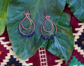 Copper Wire Wrap Lapis Lazuli Hoop Earrings
