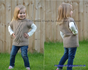 Knitting Pattern - Cable Leisure Vest (Baby and Child sizes)