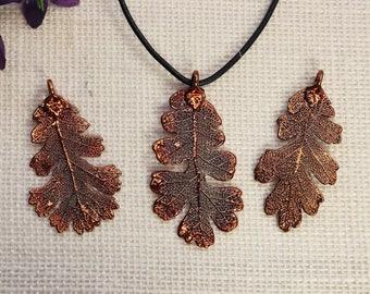 SALE Leaf Necklace, Copper Oak Leaf, Real Lacey Oak Leaf Necklace, Oak, Copper Leaf Pendant, SALE382
