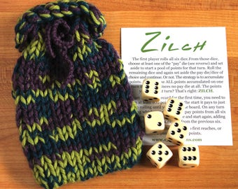 Zilch dice game with handknit bag
