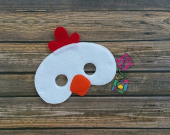 Chicken Mask - Birthday - Farm - Kids Dress Up - Pretend Play - Party Favors - Felt