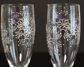 Snowflake Winter Wonderland Wedding Personalized Toasting Flutes Custom Champagne Glasses Bride Groom Mr. Mrs. Dark Purple Silver White