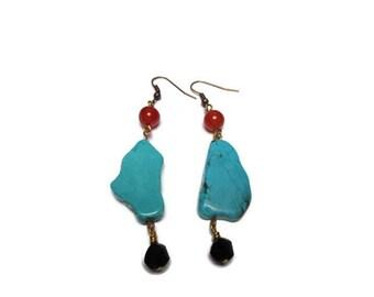 Natural howlite and agate earrings / Elegant earrings / Blue and red earrings / Dangle earrings / Unique earrings / Gift for her /