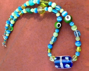 Aqua & Lime Beaded Necklace