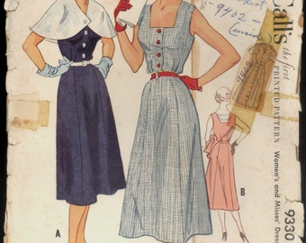 Part Cut 1950s Size 16 Bust 34 Cape Sleeveless Dress McCalls 9330 9402 Vintage Sewing Pattern 50s 2 Skirts