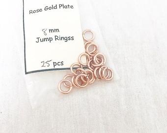 Rose gold 8mm jump rings